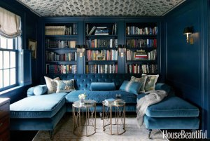 blue-velevet-sectional-navy-blue-walls-house-beautiful