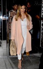 kim-kardashian-hakkasan-restaurant-celine-fall-2013-coat-balenciaga-tote-azzedine-alaia-circle-sandals