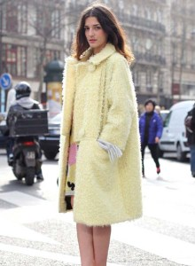pastel+trends+fuzzy+coat+street style+fashion-yellow