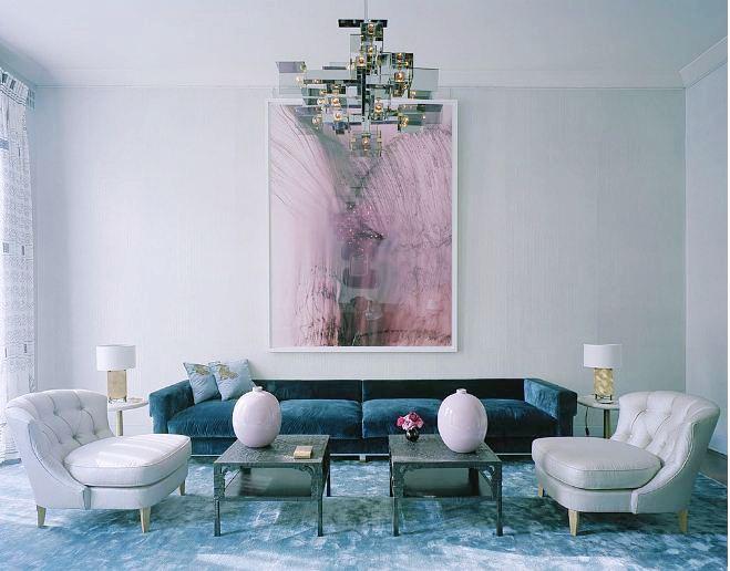 Haute details velvet decor - Blue and pink living room ideas ...