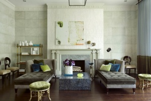 velvet-chaise-foot-stool-chairs-turquoise-green-tufted-sofa-gray-white-walls-art-painting-fireplace-eclectic-home-decor-decorating-ideas-frank-roop