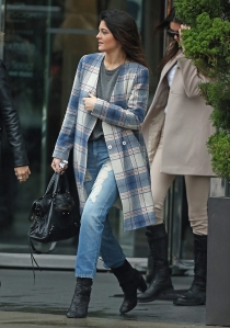 kylie-jenner-shopping-topshop-pale-blue-check-coat-balenciaga-bag-topshop-jeans